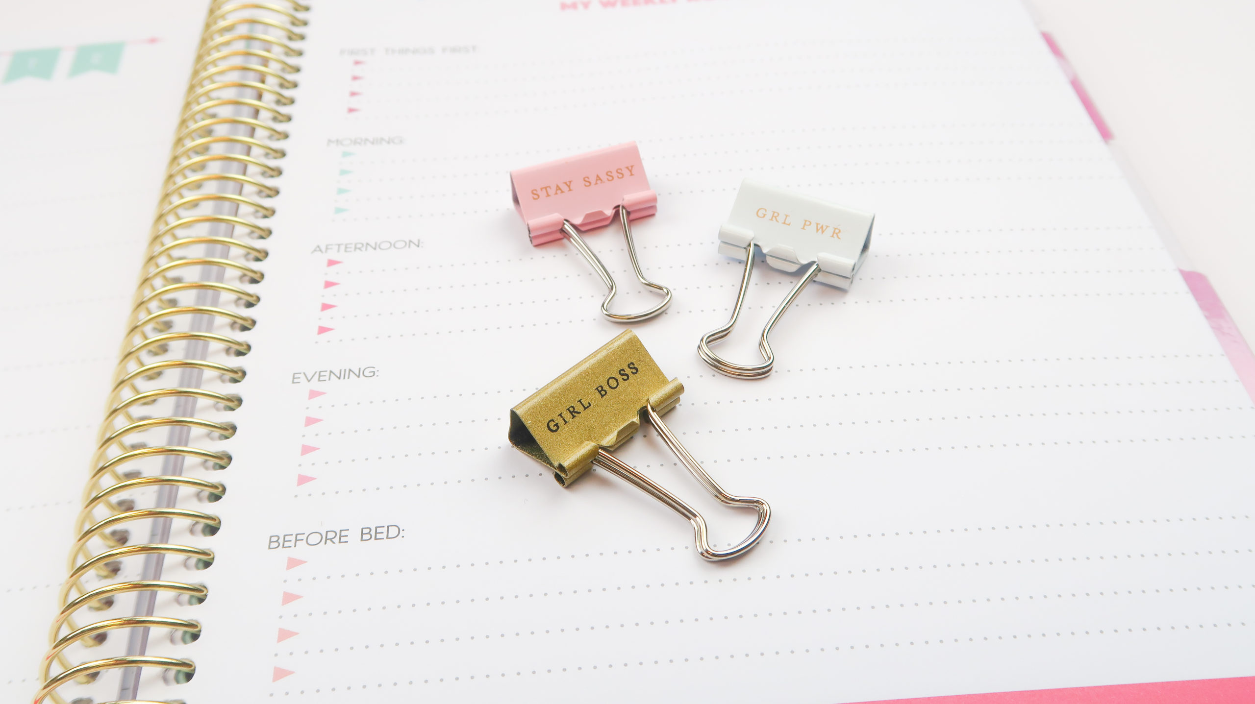 notebook and paperclips, with goal tracking list