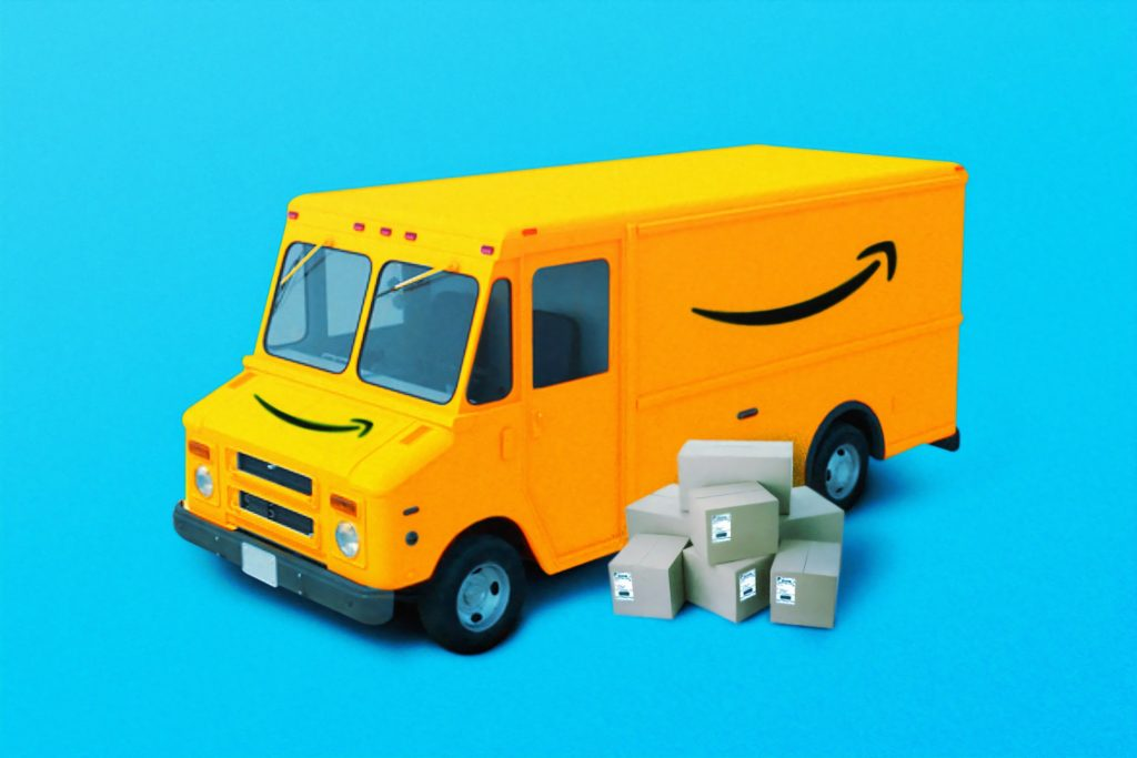 yellow amazon truck with boxes